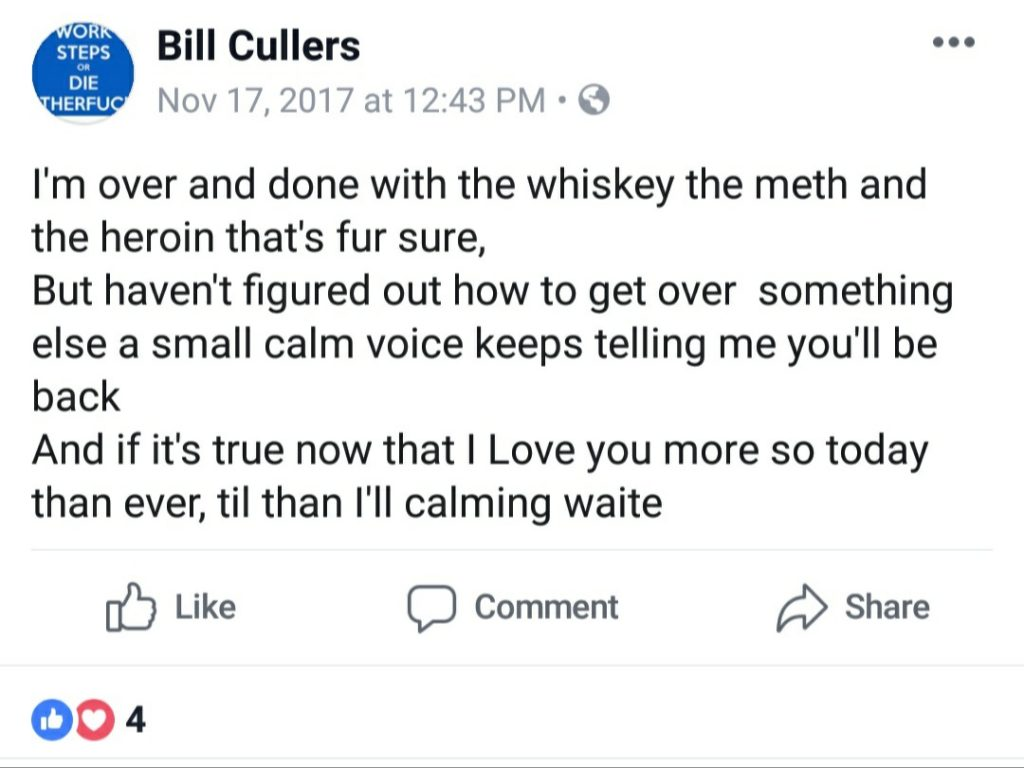 William Cullers speaks of his struggles to conquer an alcohol, meth and heroin addiction.