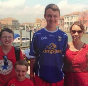 Clodagh Hawe( right) with her three sons (left to right) Niall, Ryan and Liam.