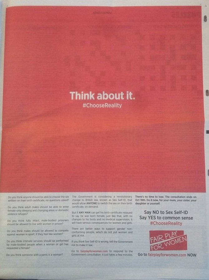 Fair Play for Women ad in Metro