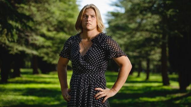 Hannah Mouncey in a dress
