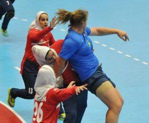 Hannah Mouncey plays in Asian Handball Federation Championship 2018.