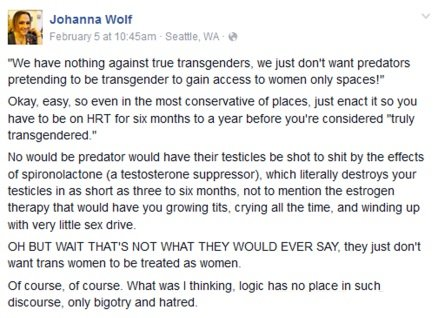 Johanna Wolf advocates for mixed-sex accommodations on Facebook before his history as a rapist is revealed.