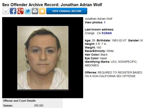 Jonathan Adrian Wolf Sex Offender Archive Record