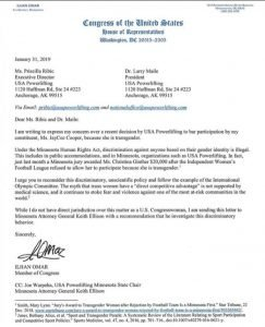Letter to USAPL from Minnesota Congresswoman Rep Omar