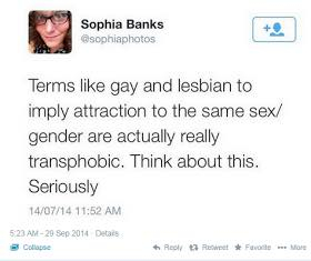 """Sophia Banks says the terms """"gay"""" and """"lesbian"""" are transphobic."""